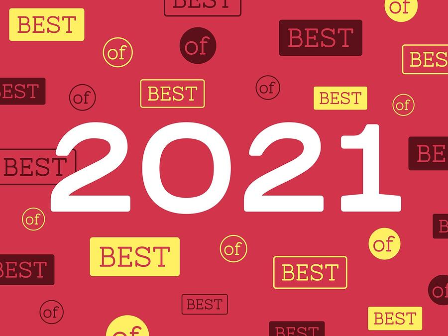 words BEST OF 2021 on red background