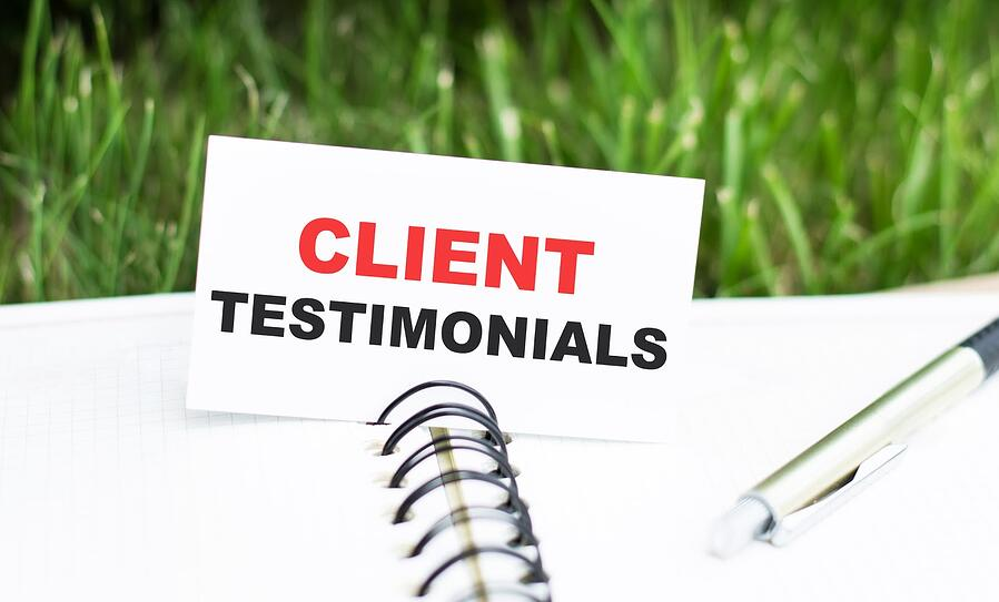 financial advisor reviewing client testimonials