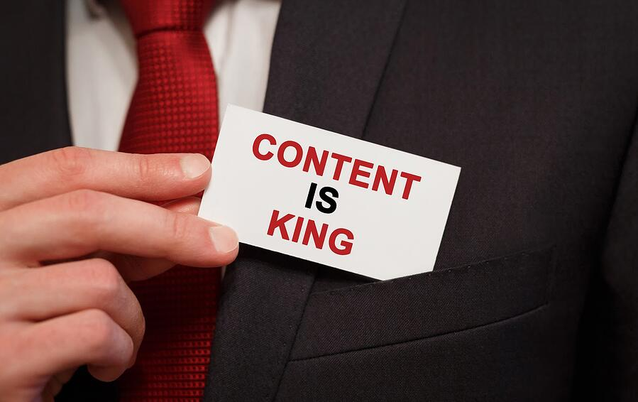 closeup of note saying Content is King
