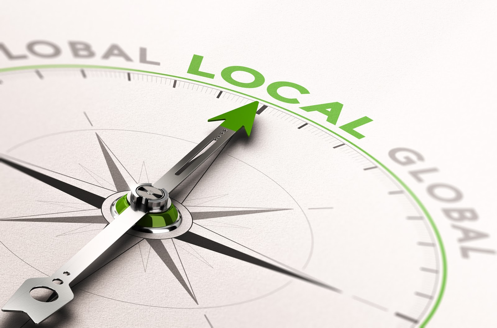 compass with words Global and local
