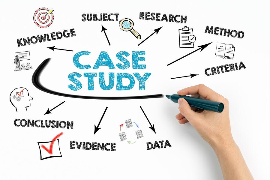 The words CASE STUDY with descriptive words around it