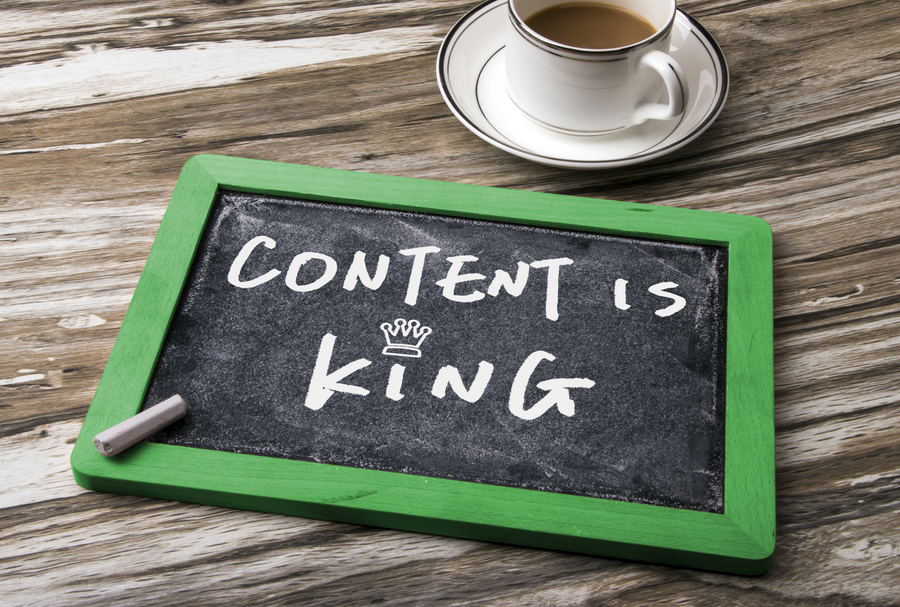 content is king written on chalkboard