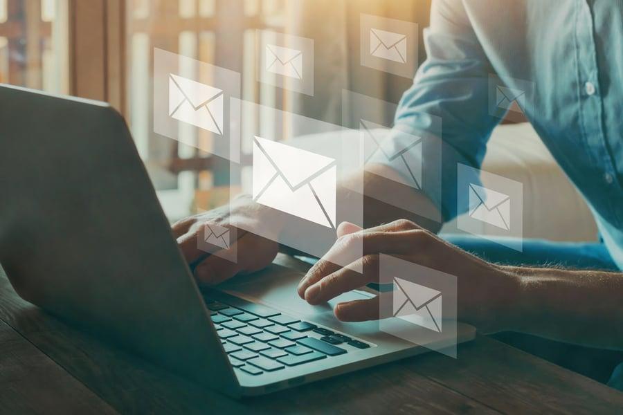 financial advisor preparing email newsletter