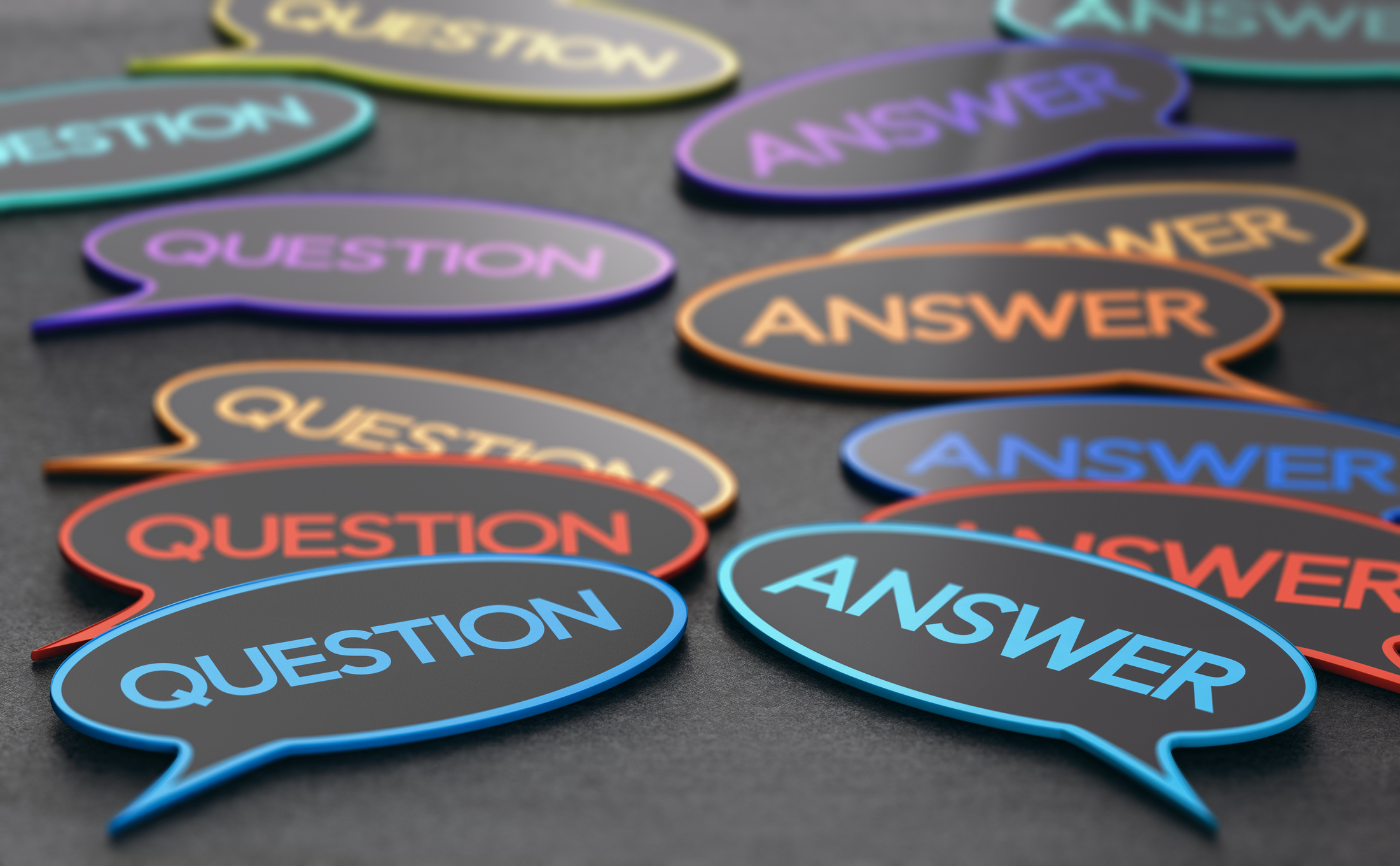 thought bubbles with the words 'question' and 'answer' representing a FAQ page on a financial advisor website www.paladindigitalmarketing.com
