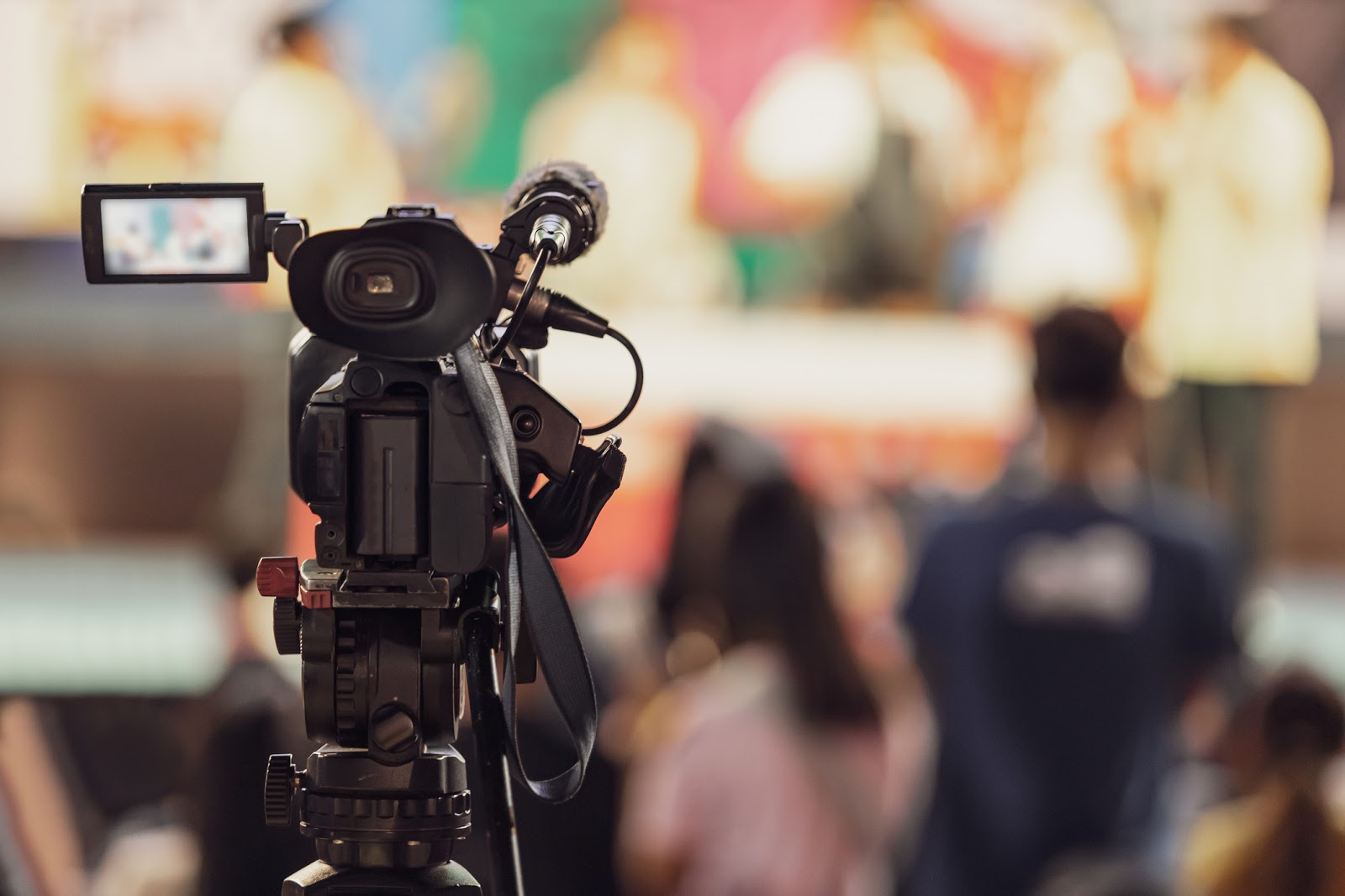 video camera recording crowd