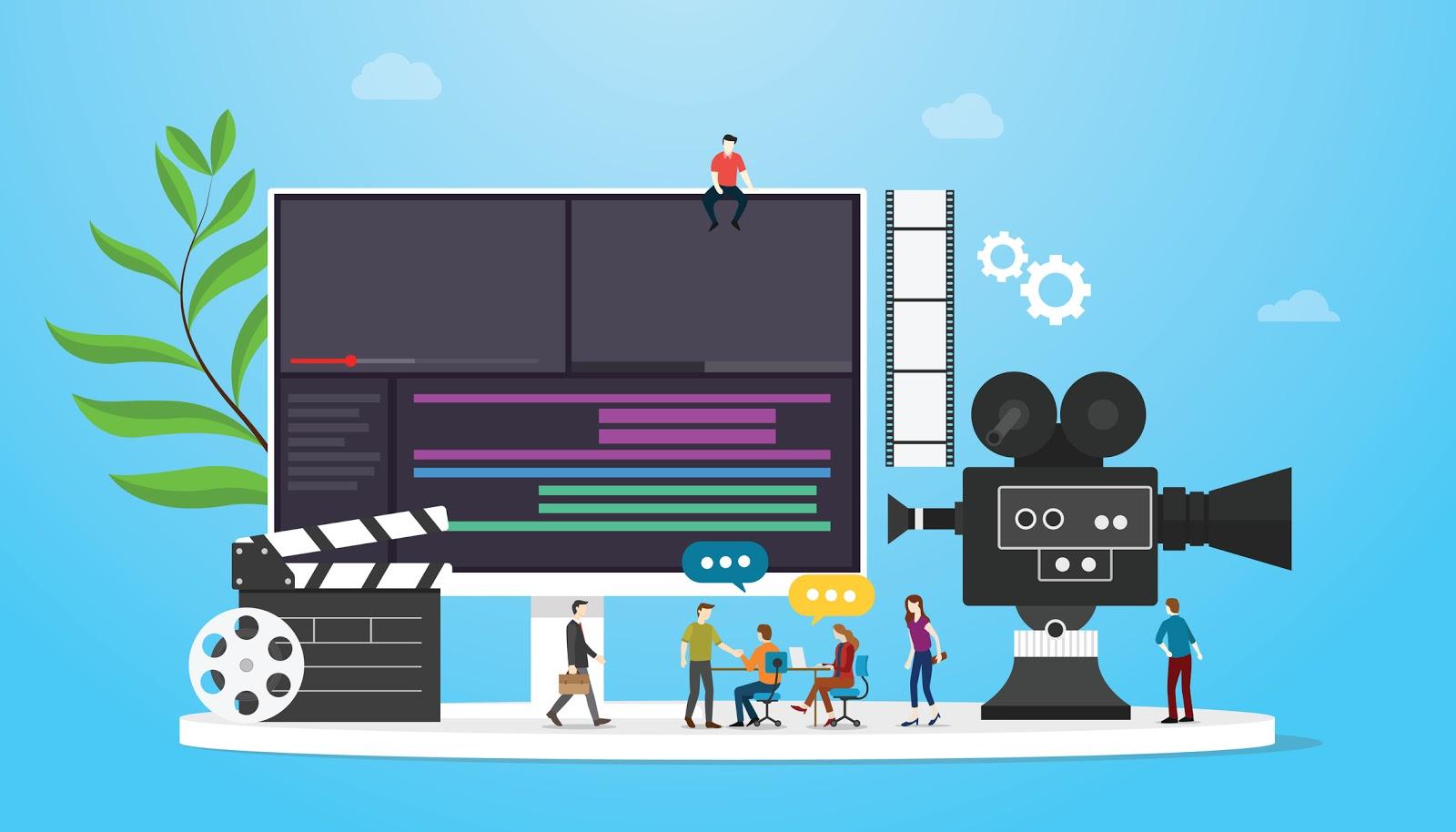 cartoon image of video production studio