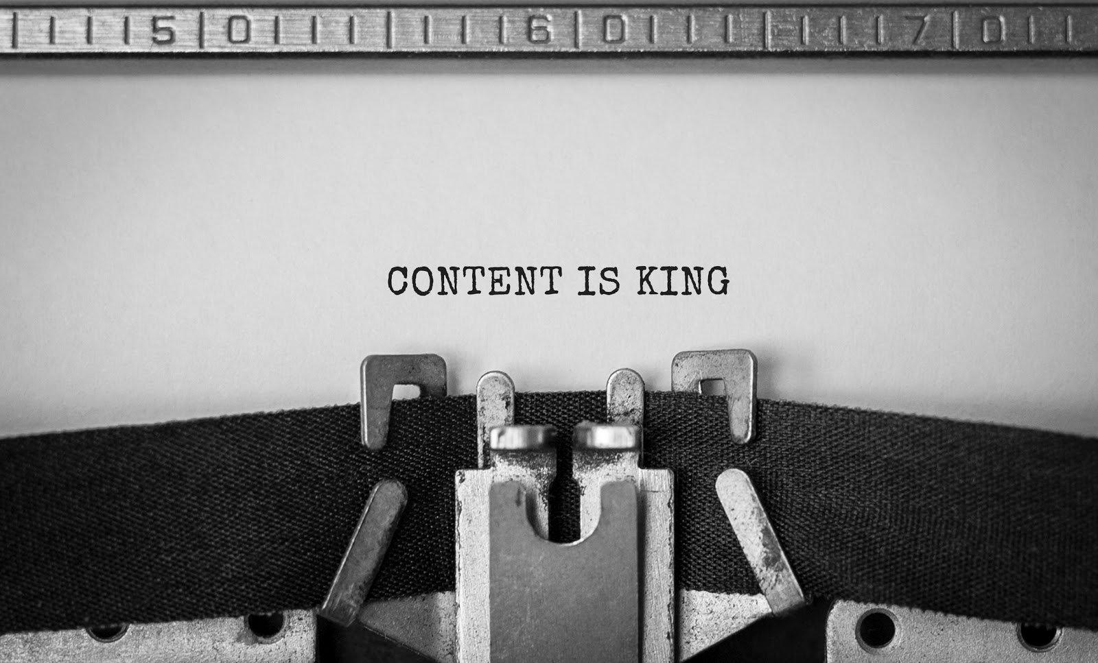 typewriter typing Content is King
