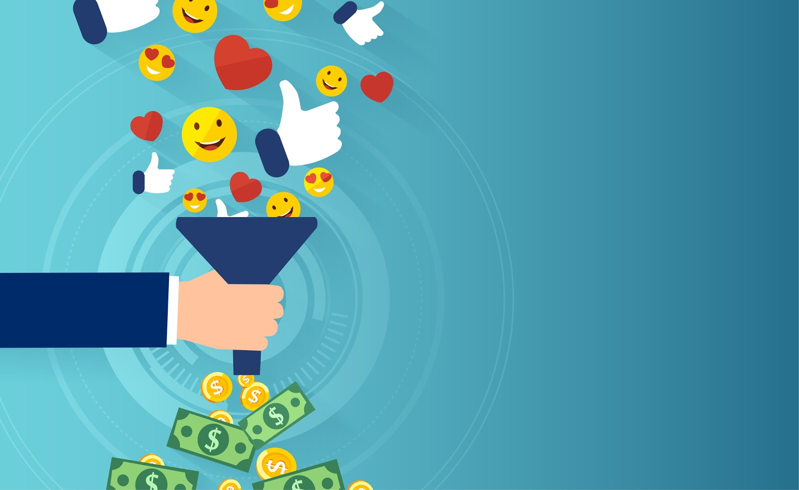 funnel overflowing with happiness & money