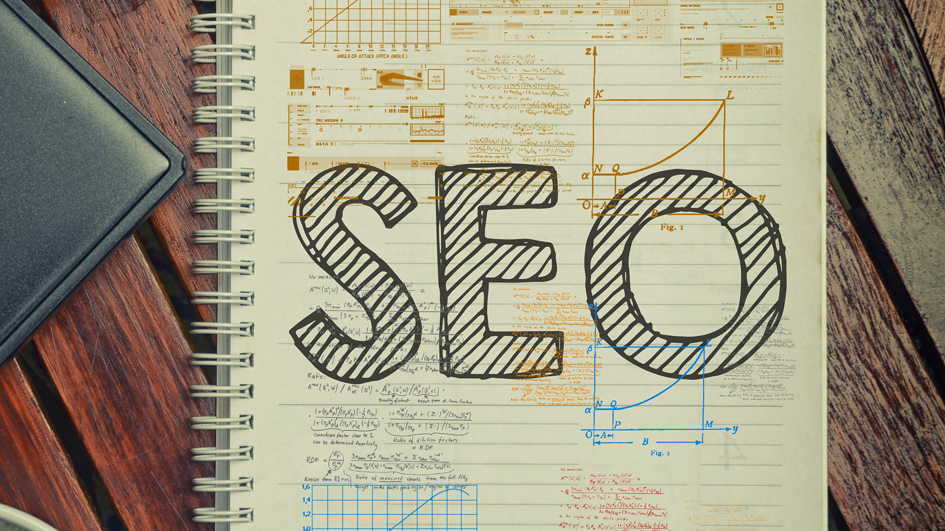 Notepad with the word SEO written down
