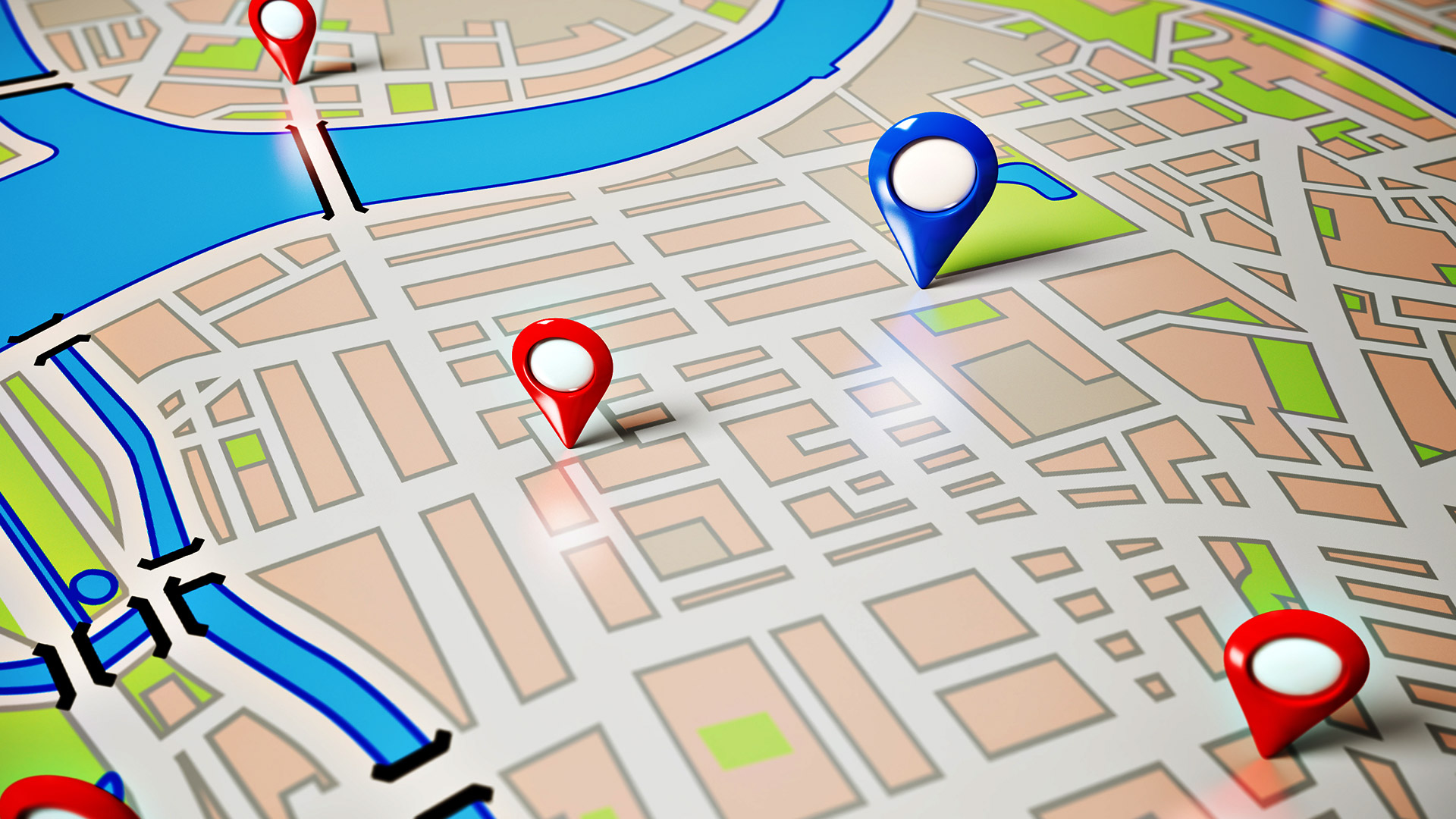 Image of a map representing google maps for financial advisors